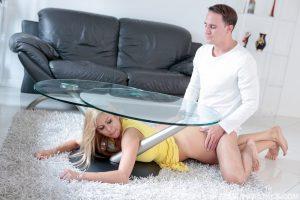 ดูหนังเอ็กซ์ หนังโป๊ Porn xxx  Hot MILF Stepmom Stuck and Fucked under Table by Stepson หนัง x ฝรั่ง